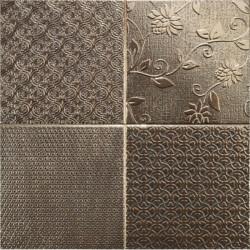 Carrelage style ciment faience précieuse effet metal GLINT ORO 44x44 cm - 1.37m² Realonda
