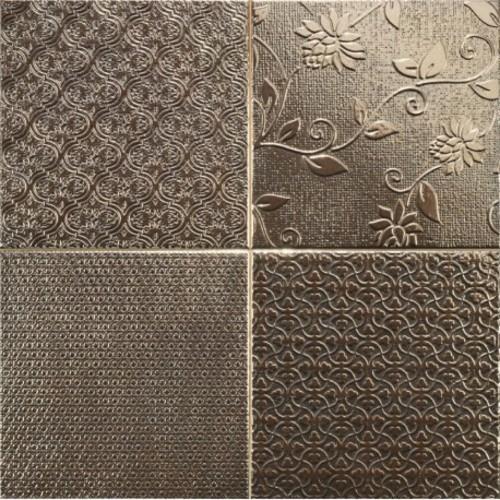 Carrelage style ciment faience précieuse effet metal GLINT ORO 44x44 cm - 1.37m² - zoom