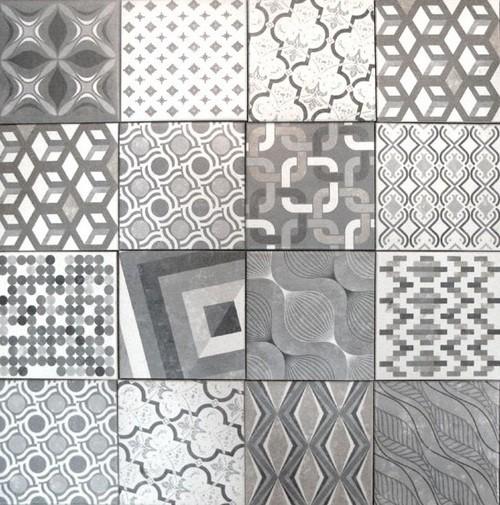 Carrelage imitation ciment style ancien 18x18 cm EUROPE MIX GRIS - 0.97m² - zoom