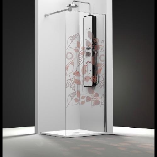 Paroi de douche fixe 1 panneau - Décor Feuilles Automne - zoom