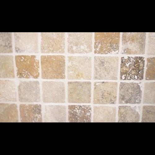 Carrelage pierre Travertin TR TAS SCABOS beige noce 1er choix 10x10 cm - 0.5m² Nd