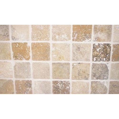 Carrelage pierre Travertin TR TAS SCABOS beige noce 1er choix 10x10 cm - 0.5m² - zoom