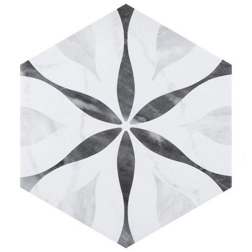 Carrelage hexagonal motif 17,5x20 BARDIGLIO FLOWER 23772 - 0.71m² - zoom