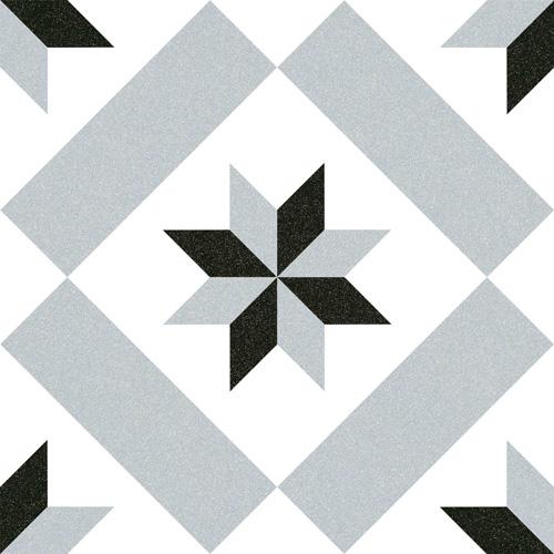 Carrelage imitation ciment étoile grise et noire 20x20 cm CALVET - 1m² - zoom