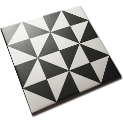 Carrelage style ciment triangles blanc noir 20x20 cm 1900 TERRADES Grafito - 1m² Vives Azulejos y Gres