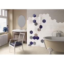 Carrelage hexagonal 17.5x20 Tomette design HEXATILE BLANC Brillant 20519 – 0.71m² Equipe
