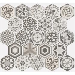 Carrelage hexagonal 17.5x20 Tomette Harmony B&W – 0.71m² ASDC