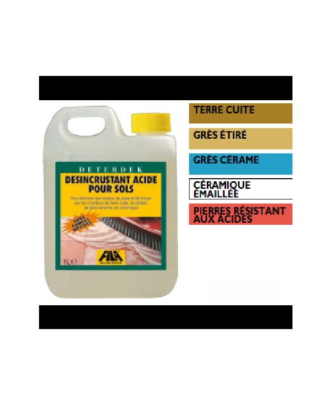 Désincrustant acide pour sol décapant fin de chantier Deterdek 5 L Fila
