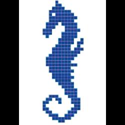 Décor mosaique piscine hippocampe cheval de mer 33x100 cm - unité Onix