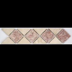 Frise pierre 512 Travertin Beige - Travertin Rouge 28.5x7 cm - unité SF