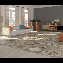 Carrelage imitation carreau de ciment ancien 60x60 cm AVENUE DECO - 1.44 m² Arcana