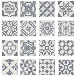 Carrelage imitation ciment bleu gris et blanc mix 20x20 cm ANTIGUA AZUL - 1m² Ribesalbes