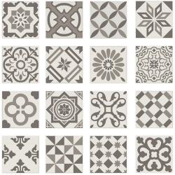 Carrelage imitation ciment gris taupe marron et blanc mix 20x20 cm ANTIGUA GRIS R10 - 1m² Ribesalbes