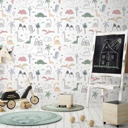 Papier peint design auto adhésif enfance DINOSAURS 65x110cm - vendu par 2 lés AP Decoration