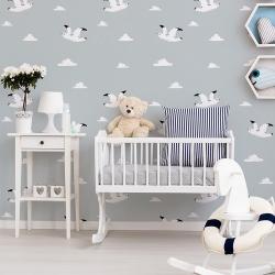 Papier peint design auto adhésif enfance WHITE BIRD IN BLUE 65x260cm - vendu par 2 lés AP Decoration