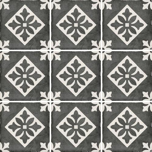 Carrelage style ciment 20x20 cm ART NOUVEAU PADUA BLACK 24416 - 1m² - zoom