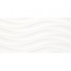 Faience à relief en vague blanche SILUETA BLANCO BRILLANTE 31.6 x 63.2 cm - 1.40m²