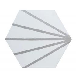 Tomette blanche à rayure grise motif dandelion MERAKI LINE GRIS 19.8x22.8 cm - 0.84m²