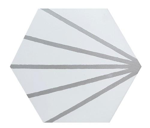 Tomette blanche à rayure grise motif dandelion MERAKI LINE GRIS 19.8x22.8 cm - 0.84m² - zoom