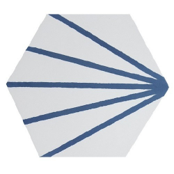 Tomette blanche à rayure bleu motif dandelion MERAKI LINE AZUL 19.8x22.8 cm - 0.84m²