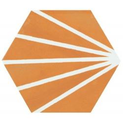 Tomette orange motif dandelion MERAKI MOSTAZA 19.8x22.8 cm - 0.84m² Bestile