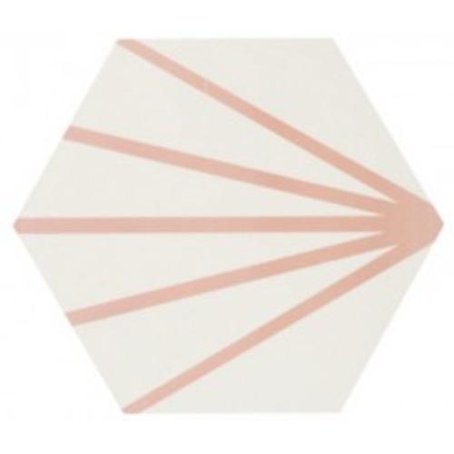 Tomette blanche à rayure rose motif dandelion MERAKI LINE ROSA 19.8x22.8 cm - 0.84m² Bestile