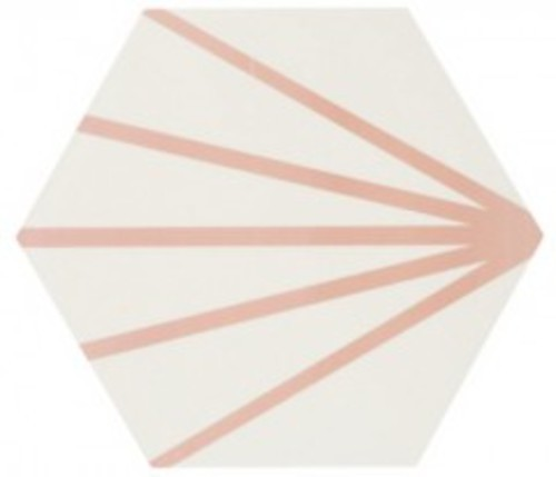 Tomette blanche à rayure rose motif dandelion MERAKI LINE ROSA 19.8x22.8 cm - 0.84m² - zoom