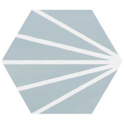 Tomette bleue clair motif dandelion MERAKI AGUAMARINA 19.8x22.8 cm - 0.84m² Bestile