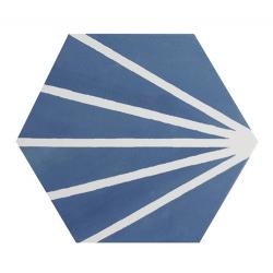 Tomette bleue motif dandelion MERAKI AZUL 19.8x22.8 cm - 0.84m²