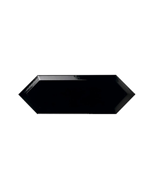 Faience navette biseautée noire brillant 10x30 PICKET BEVELED COAL - 1m² Ribesalbes