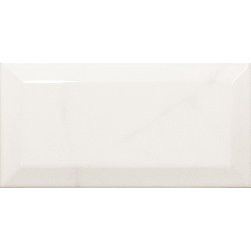 Carreau métro Blanc brillant marbré 7.5x15 cm CARRARA GLOSS 23079 – 0.5m² Equipe