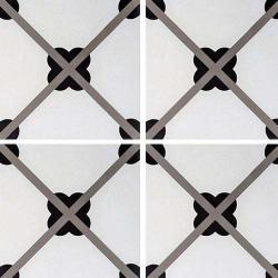 Carreau de ciment géométrique trèfle noir 20x20 cm ref7250-1 - 0.48m² Carreaux ciment véritables
