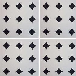 Carreau de ciment géométrique blanc et noir TITACO 20x20 cm ref:TA - 0.48m²