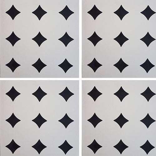 Carreau de ciment géométrique blanc et noir TITACO 20x20 cm ref:TA - 0.48m² Carreaux ciment véritables