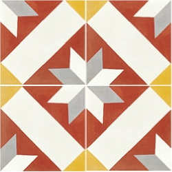 Carreau de ciment décor géométrique rouge 20x20 cm ref1150-1 - 0.48m²