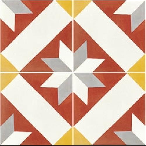 Carreau de ciment décor géométrique rouge 20x20 cm ref1150-1 - 0.48m² - zoom