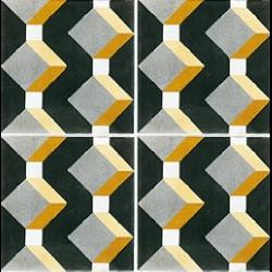 Carreau de ciment cube jaune gris noir géométrique 20x20 cm ref1170-1 - 0.48m² Carreaux ciment véritables