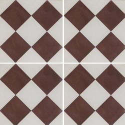 Carreau de ciment damier marron et blanc 20x20 cm ref360-1 - 0.48m² Carreaux ciment véritables