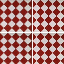 Carreau de ciment damier rouge et blanc 20x20 cm ref480-1 - 0.48m² Carreaux ciment véritables