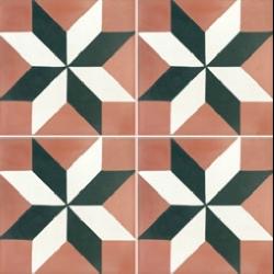 Carreau de ciment rose noir blanc décor étoile 20x20 cm ref570-1 - 0.48m²
