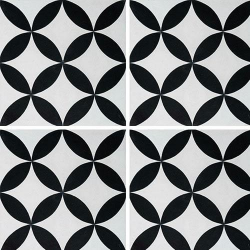 Carreau de ciment véritable Quatre feuilles noir et blanc 20x20 cm ref7180-3 - 0.48m² Carreaux ciment véritables