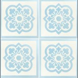Carreau de ciment décor bleu clair et blanc 20x20 cm ref7370-1 - 0.48m² Carreaux ciment véritables