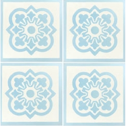 Carreau de ciment décor bleu clair et blanc 20x20 cm ref7370-1 - 0.48m² - zoom