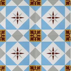 Carreau de ciment décor étoile multicolor 20x20 cm ref7600-2 - 0.48m² Carreaux ciment véritables