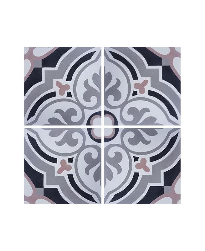 Carreau de ciment arabesque rose 20x20 cm ref7670-2 - 0.48m² Carreaux ciment véritables