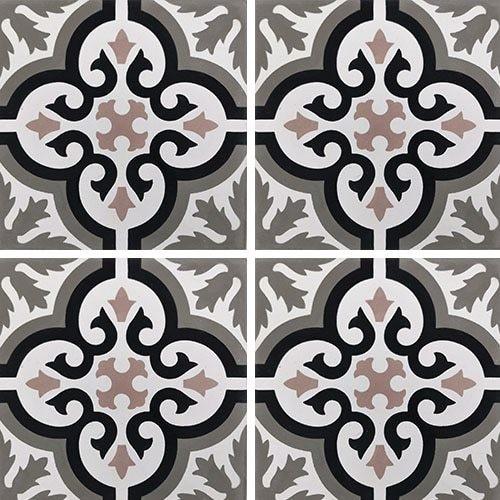 Carreau de ciment motif ancien floral noir et rose 20x20 cm ref7900-13 - 0.48m² - zoom