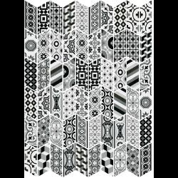 Chevron patchwork Black & White motifs anciens 9x20.5 cm - 1m² Equipe