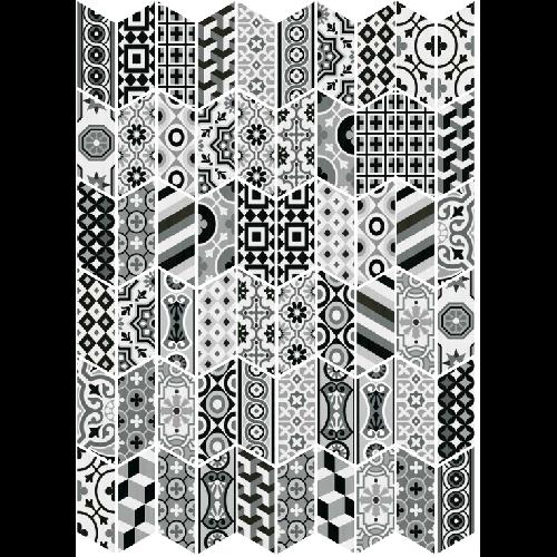 Chevron patchwork Black & White motifs anciens 9x20.5 cm - 1m² - zoom