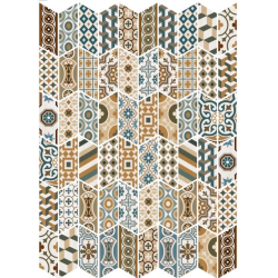 Chevron patchwork Color motifs anciens 9x20.5 cm - 1m² Equipe
