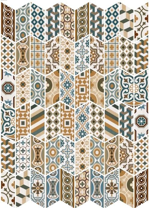 Chevron patchwork Color motifs anciens 9x20.5 cm - 1m² - zoom